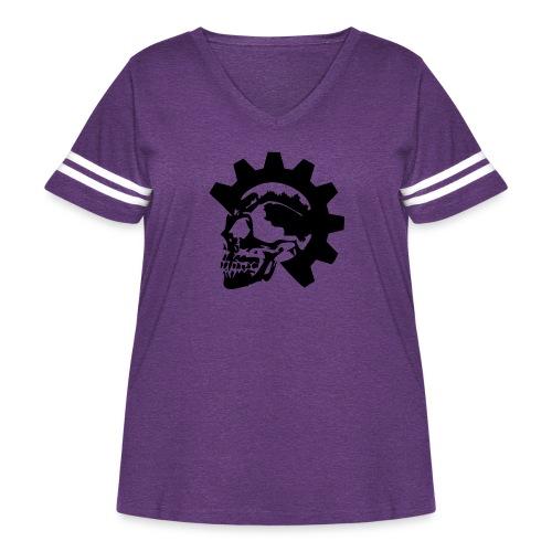 Gearhead Skull - Women's Curvy Vintage Sport T-Shirt