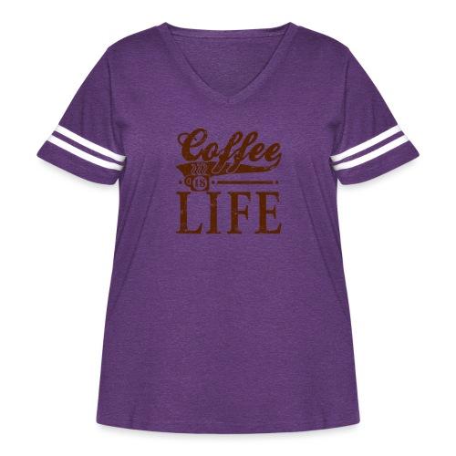 Coffee Is Life Retro Grunge Tee - Women's Curvy Vintage Sport T-Shirt