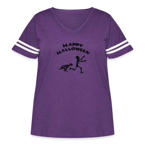 Halloween Boy and Dog - Women's Curvy Vintage Sport T-Shirt