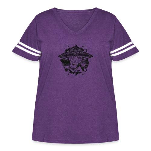 Egyptian Pharaoh Pyramid Alien UFO - Women's Curvy Vintage Sport T-Shirt