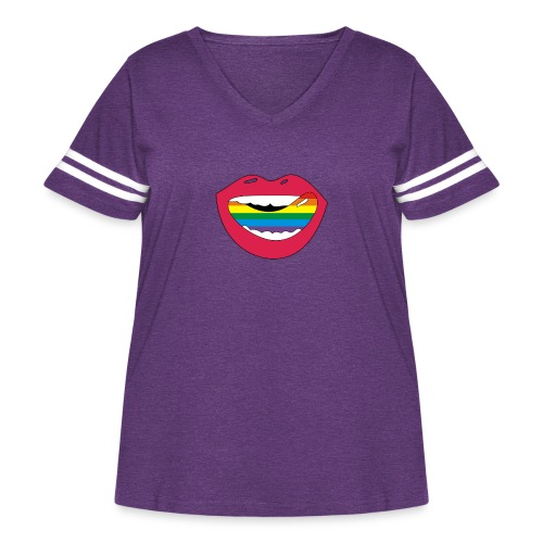 Mouthwatering shoutout Lickable Rainbow Collection - Women's Curvy Vintage Sports T-Shirt