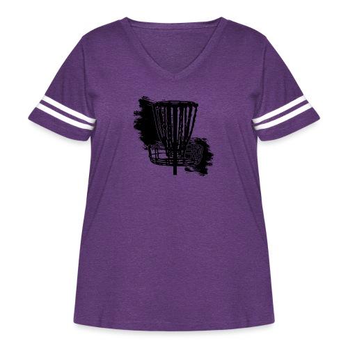 Disc Golf Basket Paint Black Print - Women's Curvy Vintage Sport T-Shirt