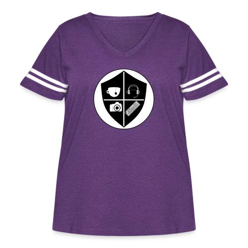 Punk Who Drinks Tea Crest - Women's Curvy Vintage Sport T-Shirt