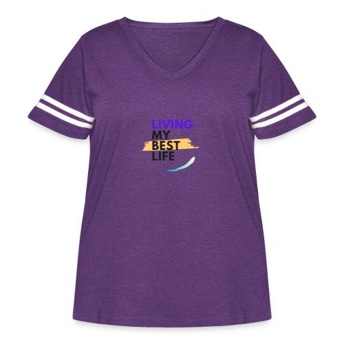 living my best life - Women's Curvy Vintage Sport T-Shirt