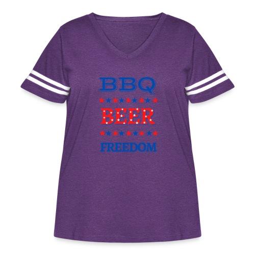 BBQ BEER FREEDOM - Women's Curvy Vintage Sport T-Shirt