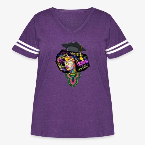 Melanin Women Afro Education - Women's Curvy Vintage Sport T-Shirt