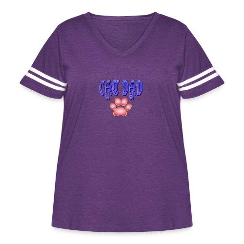 Cat Dad - Women's Curvy Vintage Sport T-Shirt