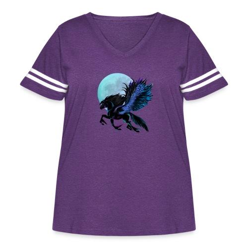 Black Pegasus and Blue Moon - Women's Curvy Vintage Sport T-Shirt