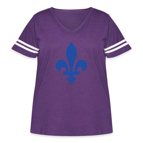 2000px Blue fleur de lis2 png - Women's Curvy Vintage Sport T-Shirt