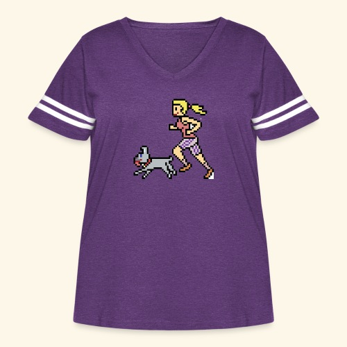 RunWithPixel - Women's Curvy Vintage Sport T-Shirt