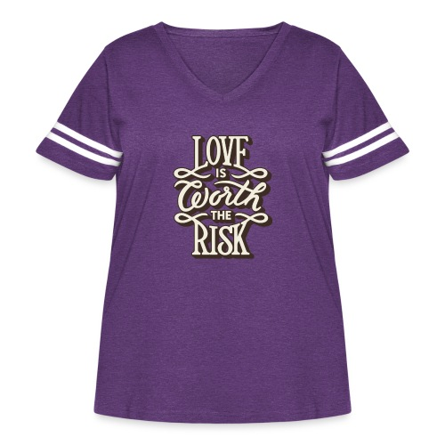 Love is worth the risk - Women's Curvy Vintage Sport T-Shirt