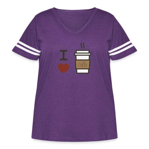 I Love Coffee - Women's Curvy Vintage Sport T-Shirt