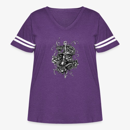 Dagger And Snake - Women's Curvy Vintage Sport T-Shirt