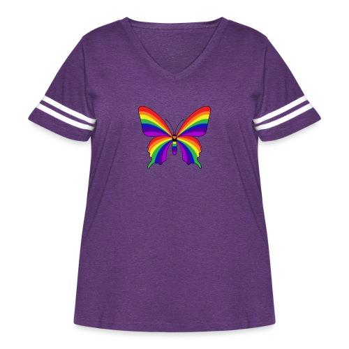 Rainbow Butterfly - Women's Curvy Vintage Sport T-Shirt