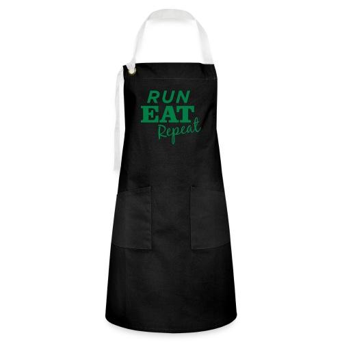 Run Eat Repeat buttons medium - Artisan Apron