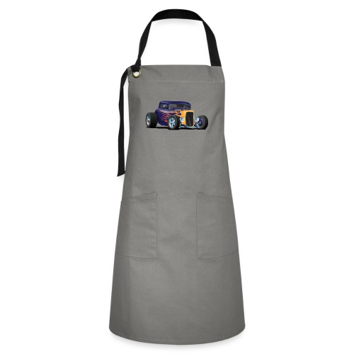 Vintage Hot Rod Car with Classic Flames - Artisan Apron