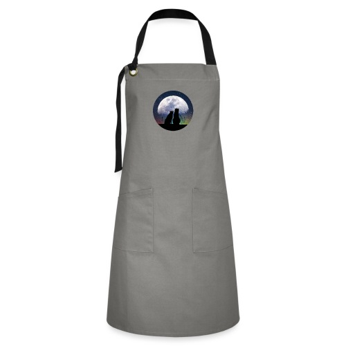 wolves looking at the moon - Artisan Apron