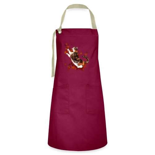 Autumn Cat - cat playing with autumn leaves - Artisan Apron