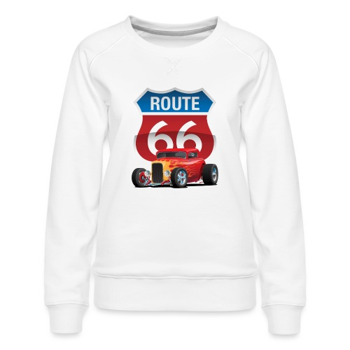 Route 66 Sign with Classic American Red Hotrod - Women's Premium Sweatshirt