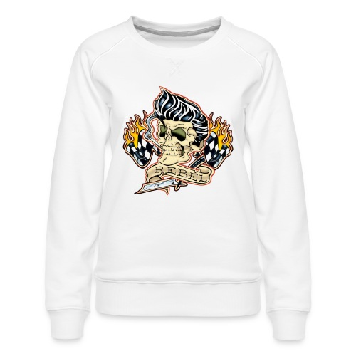 Rockabilly Rebel Tattoo Skull - Women's Premium Sweatshirt