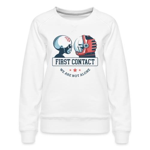 alien astronaut first contact - Women's Premium Slim Fit Sweatshirt