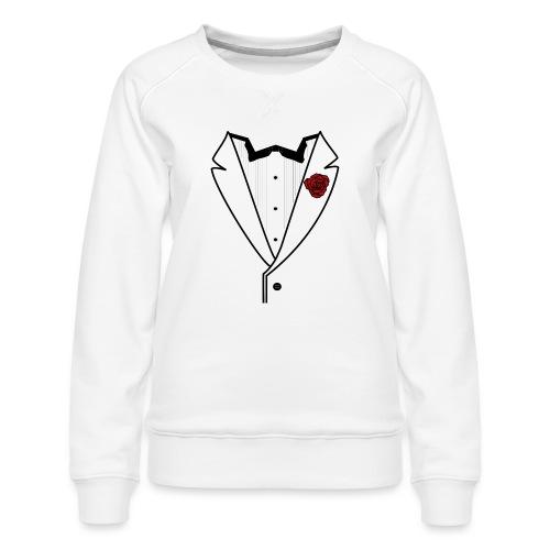 Tuxedo w/Black Lined Lapel - Women's Premium Sweatshirt