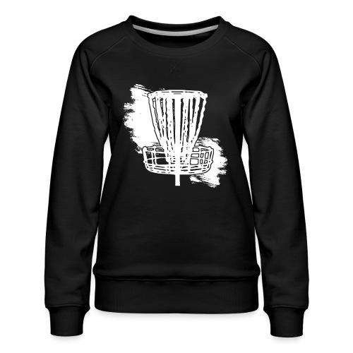 Disc Golf Basket White Print - Women's Premium Sweatshirt