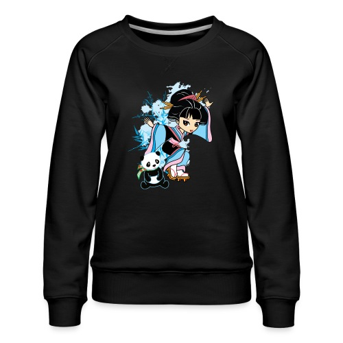 Cartoon Kawaii Geisha Panda Ladies T-shirt by - Women's Premium Sweatshirt