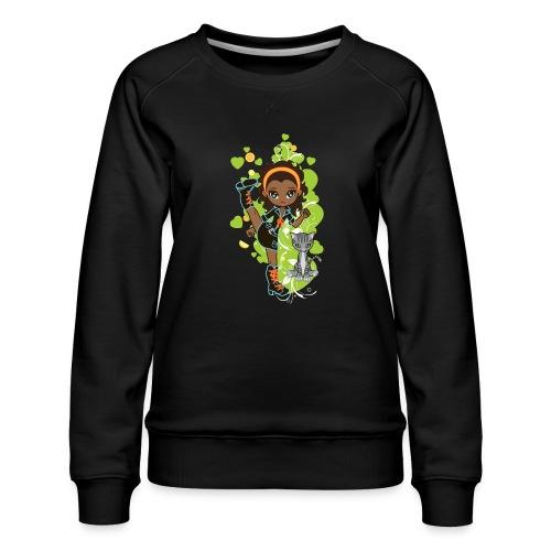 Aisha the African American Chibi Girl - Women's Premium Sweatshirt