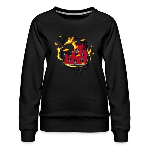 BAB Logo on FIRE! - Women's Premium Slim Fit Sweatshirt