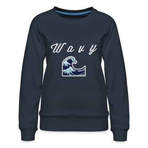 Wavy Abstract Design - Women's Premium Sweatshirt