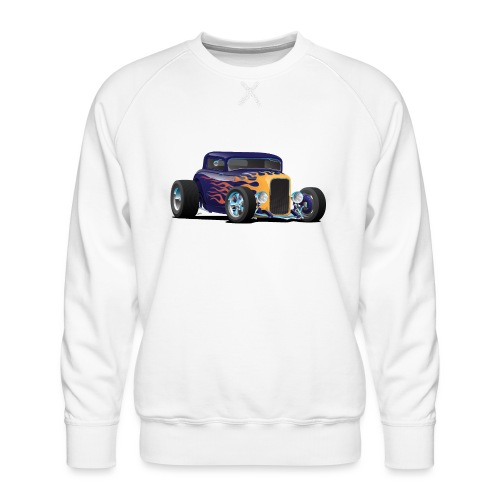 Vintage Hot Rod Car with Classic Flames - Men's Premium Sweatshirt