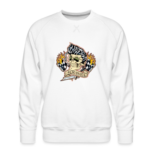 Rockabilly Rebel Tattoo Skull - Men's Premium Sweatshirt