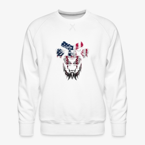 American Flag Lion Shirt - Men's Premium Sweatshirt