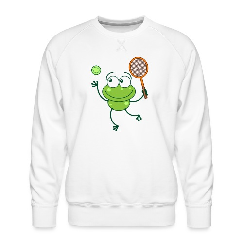 Cute frog preparing a serve shot in a tennis match - Men's Premium Sweatshirt
