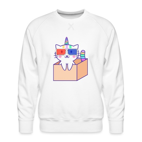 Unicorn cat with 3D glasses doing Vision Therapy! - Men's Premium Sweatshirt
