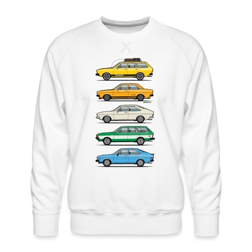 Stack of VAG B1 VDubs and Four Rings - Men's Premium Sweatshirt