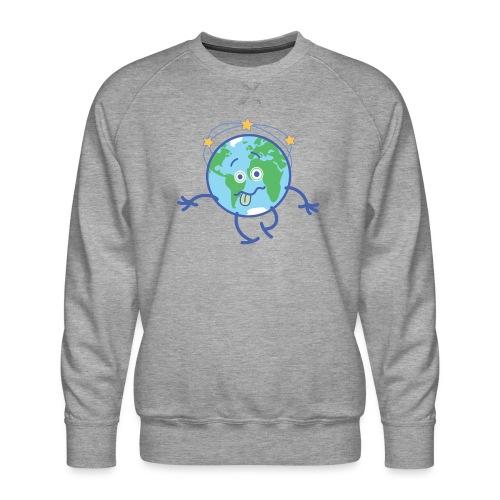 Cartoon Earth walking unsteadily and feeling dizzy - Men's Premium Sweatshirt