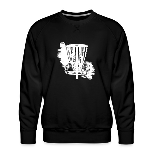 Disc Golf Basket White Print - Men's Premium Sweatshirt