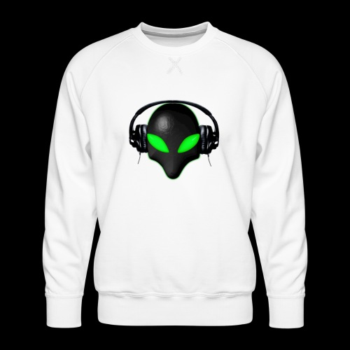 Alien Bug Face Green Eyes in DJ Headphones - Men's Premium Sweatshirt
