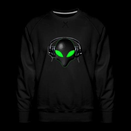 Alien Bug Face Green Eyes in DJ Headphones - Men's Premium Sweatshirt