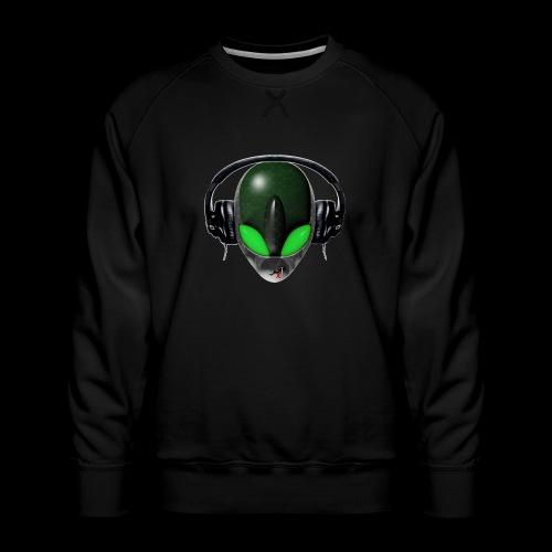 Reptoid Green Alien Face DJ Music Lover - Friendly - Men's Premium Sweatshirt