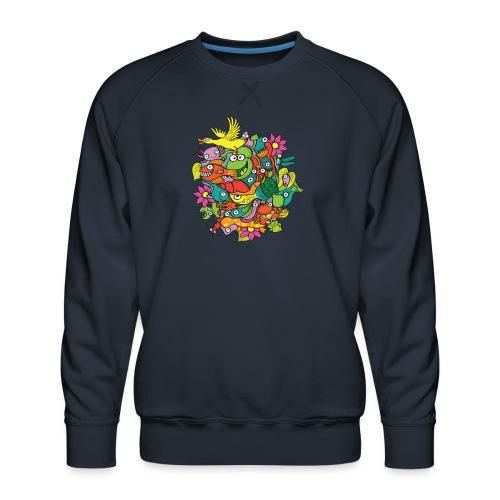 Amazing crowd of funny creatures living in a pond - Men's Premium Sweatshirt
