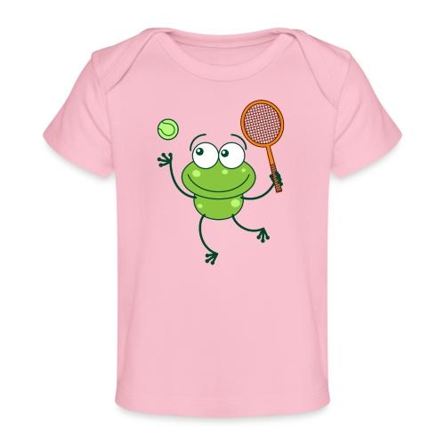 Cute frog preparing a serve shot in a tennis match - Baby Organic T-Shirt