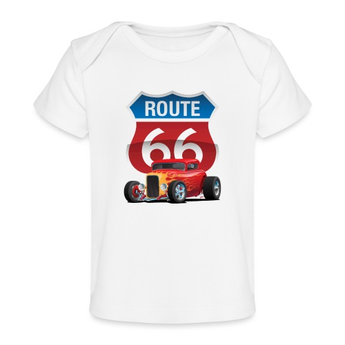 Route 66 Sign with Classic American Red Hotrod - Baby Organic T-Shirt