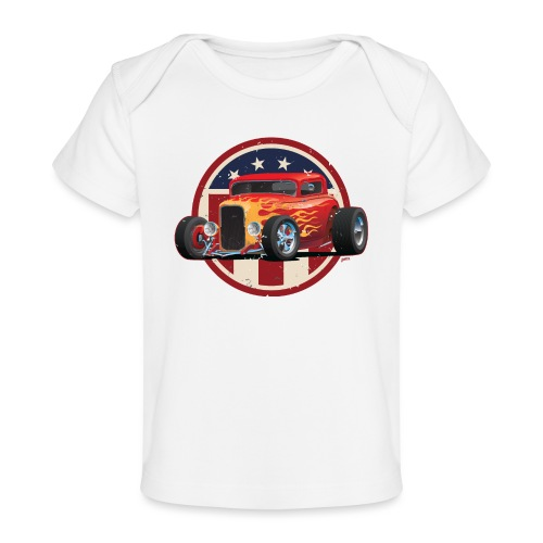 Vintage American 32 Hot Rod Coupe Car Illustration - Baby Organic T-Shirt