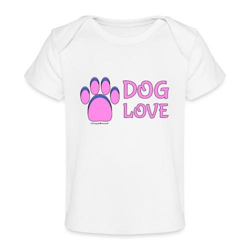 Pink Dog paw print Dog Love - Baby Organic T-Shirt