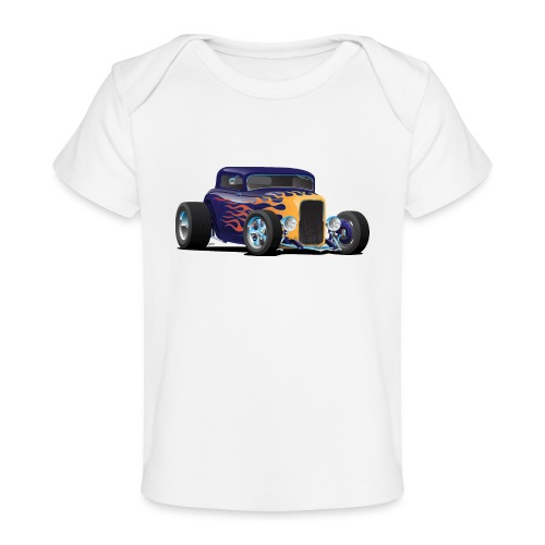 Vintage Hot Rod Car with Classic Flames - Baby Organic T-Shirt