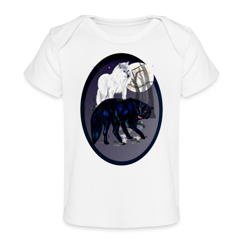 Two Wolves-oval - Baby Organic T-Shirt