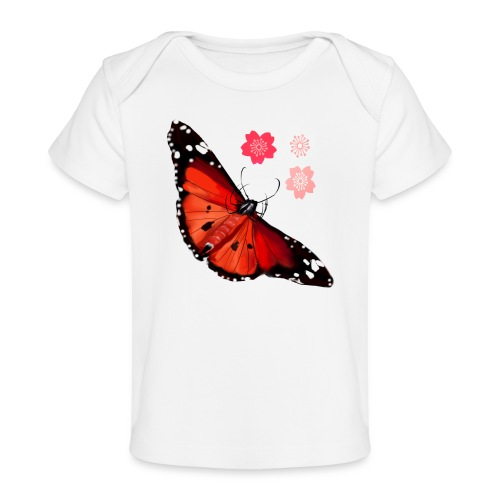 HOT ORANGE BUTTERFLY - Baby Organic T-Shirt